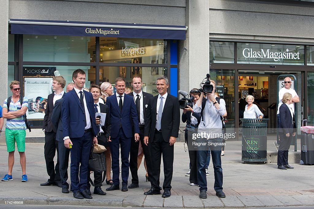 Norwegian Prime Minister <a gi-track='captionPersonalityLinkClicked' href=/galleries/search?phrase=Jens+Stoltenberg&family=editorial&specificpeople=558620 ng-click='$event.stopPropagation()'>Jens Stoltenberg</a> (C) attends a memorial service for the victims of the 2011 terrorist attacks on July 22, 2013 in Oslo, Norway.