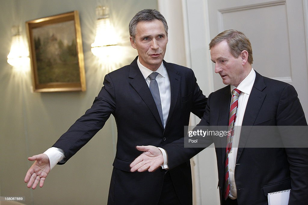 Norwegian Prime Minister <a gi-track='captionPersonalityLinkClicked' href=/galleries/search?phrase=Jens+Stoltenberg&family=editorial&specificpeople=558620 ng-click='$event.stopPropagation()'>Jens Stoltenberg</a> (L) is followed by Irish prime minister <a gi-track='captionPersonalityLinkClicked' href=/galleries/search?phrase=Enda+Kenny&family=editorial&specificpeople=5129605 ng-click='$event.stopPropagation()'>Enda Kenny</a> before addressing the press after a working luncheon at the Gamle Logen hosted by Norway's Prime Minister for the EU leaders while they attend the Nobel Peace Prize Award Ceremony at Oslo City Hall on December 10, 2012 in Oslo, Norway. The European Union is collecting this year's prestigious Nobel Peace Prize for uniting the continent after two World Wars especially while during economic crisis.