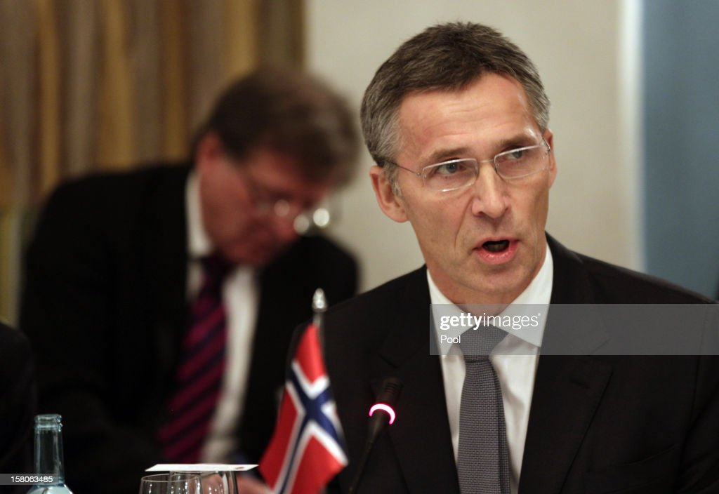 Norwegian Prime Minister <a gi-track='captionPersonalityLinkClicked' href=/galleries/search?phrase=Jens+Stoltenberg&family=editorial&specificpeople=558620 ng-click='$event.stopPropagation()'>Jens Stoltenberg</a> welcomes his guests for a working luncheon at the Gamle Logen hosted by Norway's Prime Minister for the EU leaders while they attend the Nobel Peace Prize Award Ceremony at Oslo City Hall on December 10, 2012 in Oslo, Norway. The European Union is collecting this year's prestigious Nobel Peace Prize for uniting the continent after two World Wars especially while during economic crisis.