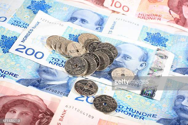 Norwegian printed bills and coins