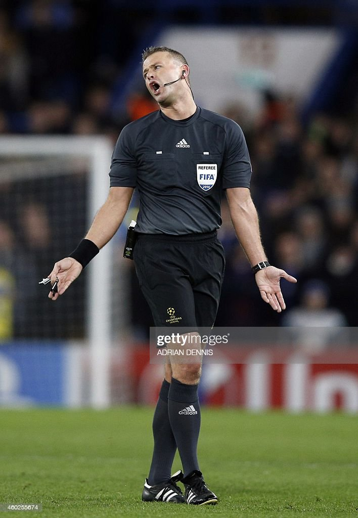 Norwegian referee <a gi-track='captionPersonalityLinkClicked' href=/galleries/search?phrase=Svein+Oddvar+Moen&family=editorial&specificpeople=6489051 ng-click='$event.stopPropagation()'>Svein Oddvar Moen</a> is pictured during the UEFA Champions League group G football match at Stamford Bridge in London on December 10, 2014.