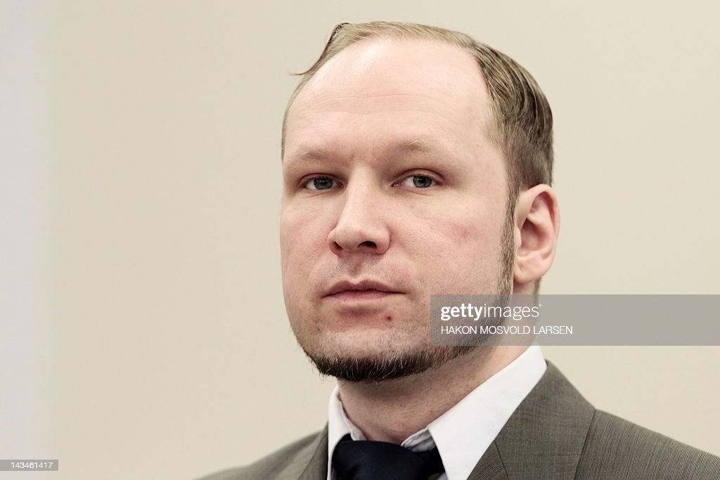 Norwegian right-wing extremist Anders Behring Breivik, who killed 77 people in twin attacks in Norway last year, is pictured at Oslo court on April 27, 2012 for the ninth day of his trial. Breivik, who has been charged with 'acts of terror', is seeking to convince the court that he is sane so that his anti-Islam ideology will be taken seriously and not considered the ravings of a lunatic. AFP Photo / Hakon Mosvold Larsen / NTB Scanpix / POOL