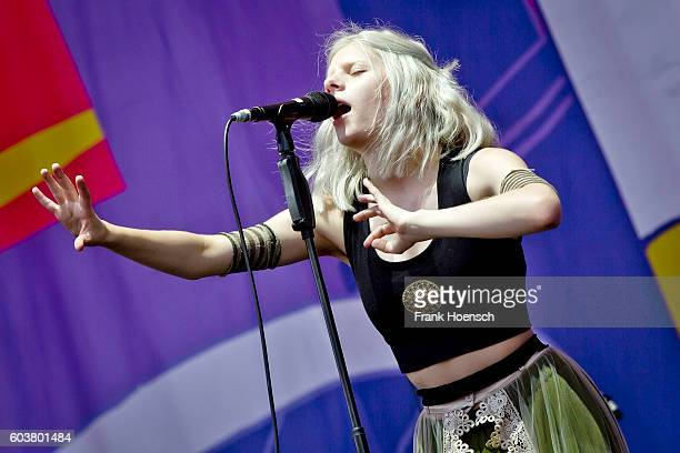Norwegian singer Aurora Aksnes performs live on stage during second day of Lollapalooza Festival at the Treptower Park on September 11 2016 in Berlin...