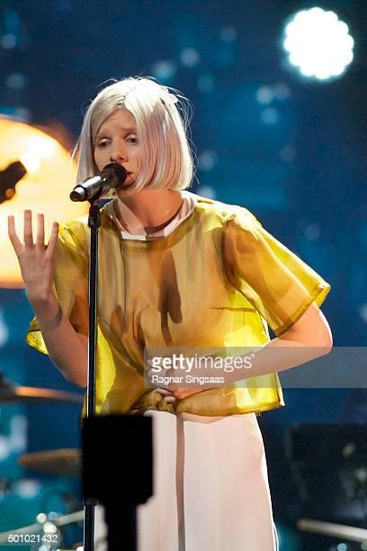 Norwegian singersongwriter Aurora Aksnes performs during Nobel Peace Prize concert at Telenor Arena on December 11 2015 in Oslo Norway