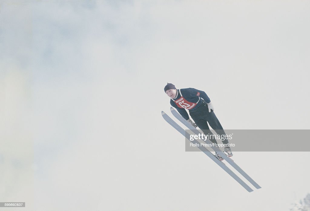 Norwegian ski jumper Bjorn Wirkola competes in the large hill individual ski jumping competition at the 1968 Winter Olympic Games at...