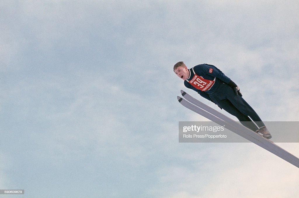 Norwegian ski jumper Lars Grini competes in the Men's Large hill individual competition at the 1968 Winter Olympic Games at SaintNizierduMoucherotte...
