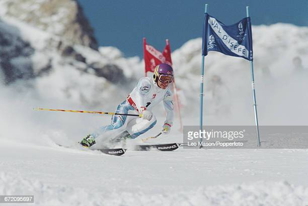 Norwegian skier Kjetil Andre Aamodt pictured in action to finish in third place to win the bronze medal in the Men's giant slalom skiing event held...