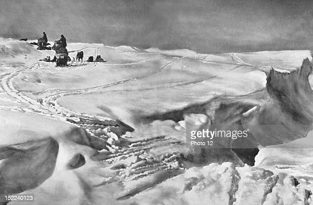Norwegian South Pole expedition lead by Roald Amundsen in 19111912 Roald Amundsen's caravan is stuck on the edge of an deep crevasse that is to be...
