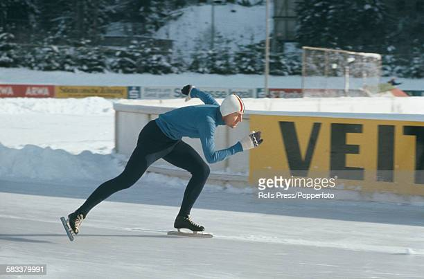 Norwegian speed skater Fred Anton Maier pictured in competition in 1967