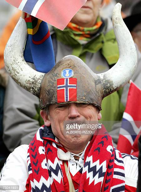 Norwegian supporter cheers on his team during the Women's 15 km Individual race of Biathlon World Championship in Anterselva 07 February 2007...