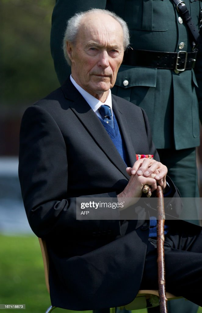 Norwegian World War II hero Joachim Ronneberg, 93, attends a wreath-laying ceremony in his honour at the SOE agents monument in central London on April 25, 2013, for leading the SOE operation Gunnerside where Norwegian soldiers destroyed the German occupied Heavy Water Plant in Vemork, Norway.