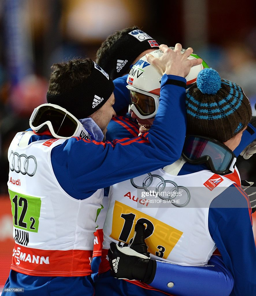 Norwegian's <a gi-track='captionPersonalityLinkClicked' href=/galleries/search?phrase=Anders+Jacobsen+-+Ski+Jumper&family=editorial&specificpeople=12186216 ng-click='$event.stopPropagation()'>Anders Jacobsen</a>, <a gi-track='captionPersonalityLinkClicked' href=/galleries/search?phrase=Anders+Bardal&family=editorial&specificpeople=2146620 ng-click='$event.stopPropagation()'>Anders Bardal</a>, Rune Velta and Anders Fannemel celebrate after the Men Large Hill Team competition of the 2015 FIS Nordic World Ski Championships in Falun, Sweden, on February 28, 2015. Norway's team won ahead of Austria and Poland. AFP PHOTO / CHRISTOF STACHE