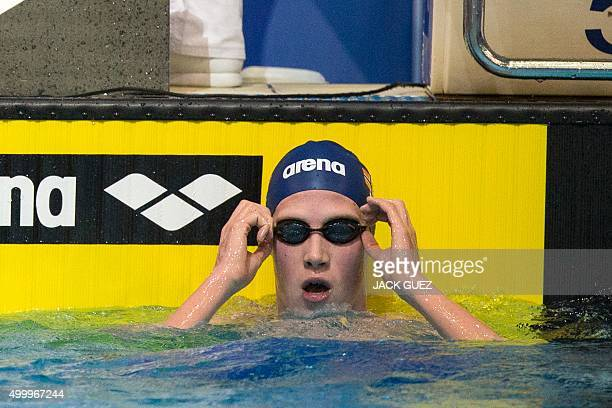 Norwegians Henrik Christiansen reacts after the finals of the men's 1500m freestyle swimming event at the 18th European Short Course Championships in...