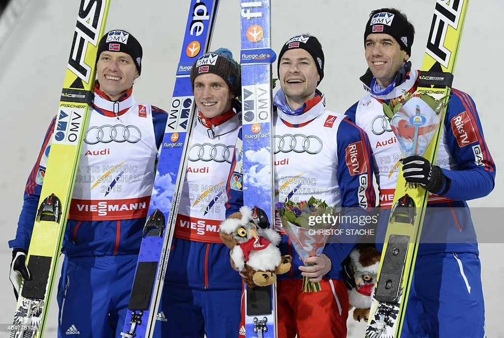 Norwegian's <a gi-track='captionPersonalityLinkClicked' href=/galleries/search?phrase=Rune+Velta&family=editorial&specificpeople=6845746 ng-click='$event.stopPropagation()'>Rune Velta</a>, Anders Fannemel, <a gi-track='captionPersonalityLinkClicked' href=/galleries/search?phrase=Anders+Jacobsen+-+Ski+Jumper&family=editorial&specificpeople=12186216 ng-click='$event.stopPropagation()'>Anders Jacobsen</a> and <a gi-track='captionPersonalityLinkClicked' href=/galleries/search?phrase=Anders+Bardal&family=editorial&specificpeople=2146620 ng-click='$event.stopPropagation()'>Anders Bardal</a> pose during the winner ceremony of the Men Large Hill Team competition of the 2015 FIS Nordic World Ski Championships in Falun, Sweden, on February 28, 2015. Norway's team won ahead of Austria and Poland. AFP PHOTO / CHRISTOF STACHE