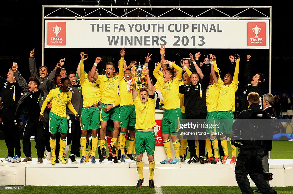 Norwich City celebrate with the trophy after winning the FA Youth Cup Final match between Chelsea and Norwich City at Stamford Bridge on May 13 2013...