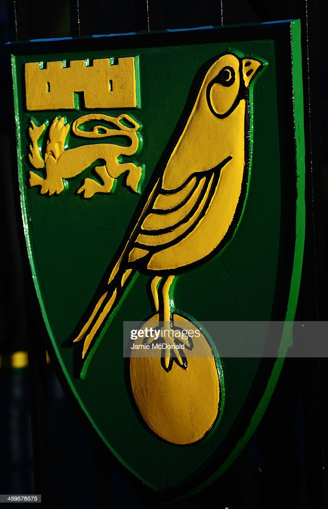 Norwich City club crest prior to the Barclays Premier League match between Norwich City and Manchester United at Carrow Road on December 28, 2013 in Norwich, England.