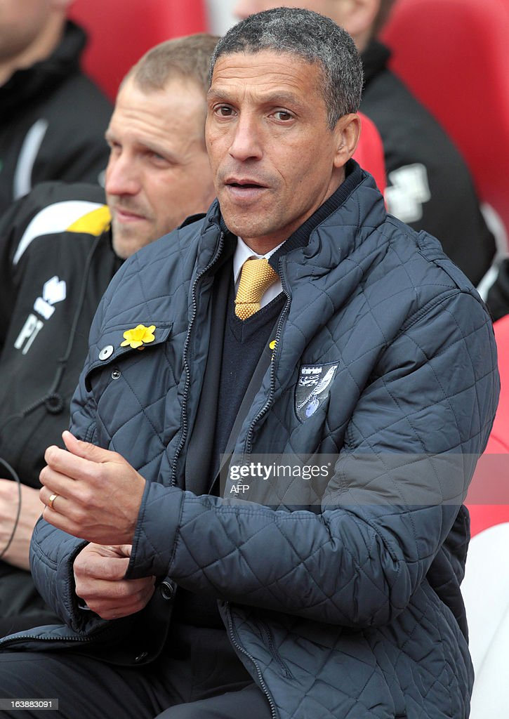 "Norwich City English manager Chris Hughton takes his seat ahead of the the English Premier League football match between Sunderland and Norwich City at The Stadium of Light in Sunderland, north-east England, on March 17, 2013. USE. No use with unauthorized audio, video, data, fixture lists, club/league logos or ""live"" services. Online in-match use limited to 45 images, no video emulation. No use in betting, games or single club/league/player publications."