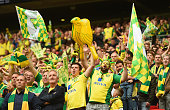 Norwich City fans celebrate promotion after the Sky Bet Championship Playoff Final between Middlesbrough and Norwich City at Wembley Stadium on May...