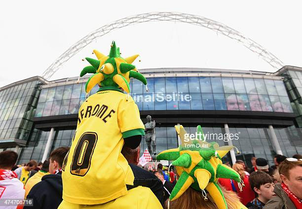 Norwich City fans show their colours prior to the Sky Bet Championship Playoff Final between Middlesbrough and Norwich City at Wembley Stadium on May...