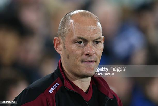 Norwich City manager Alex Neil looks on during the Capital One Cup Fourth Round match between Everton and Norwich City at Goodison Park on October 27...