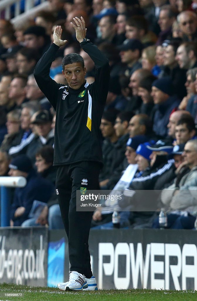 Norwich City manager Chris Hughton applauds on the touchline during the FA Cup with Budweiser third round match between Peterborough United and Norwich City at London Road Stadium on January 5, 2013 in Peterborough, England.