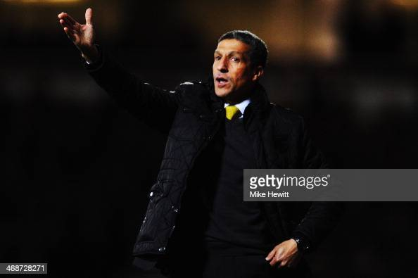 Norwich City manager Chris Hughton shouts instructions on the touchline during the Barclays Premier League match between West Ham United and Norwich...