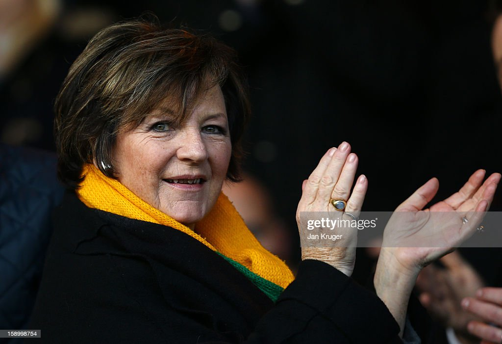 Norwich City owner <a gi-track='captionPersonalityLinkClicked' href=/galleries/search?phrase=Delia+Smith&family=editorial&specificpeople=216342 ng-click='$event.stopPropagation()'>Delia Smith</a> looks on during the FA Cup with Budweiser third round match between Peterborough United and Norwich City at London Road Stadium on January 5, 2013 in Peterborough, England.