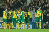 Norwich City players celebrate their first goal by Alexander Tettey during the Barclays Premier League match between Norwich City and Southampton at...