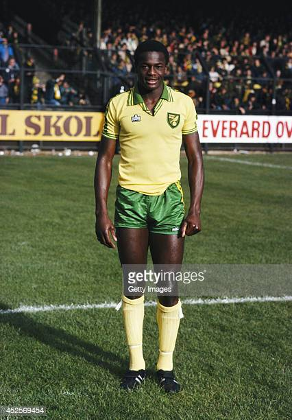 Norwich City striker Justin Fashanu poses before kick off at a game at Carrow Road circa 1981