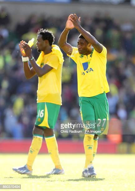 Norwich City's Alexander Tettey and Kei Kamara applaud the fans after the final whistle