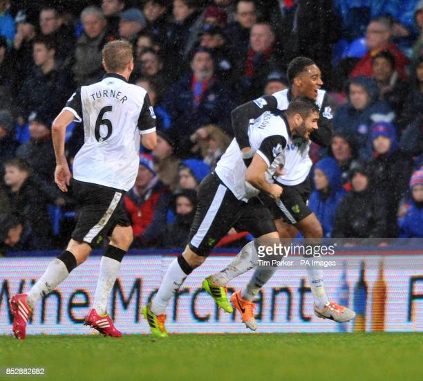 Norwich City's Bradley Johnson celebrates 1st goal with team mates during the Barclays Premier League match at Selhurst Park London