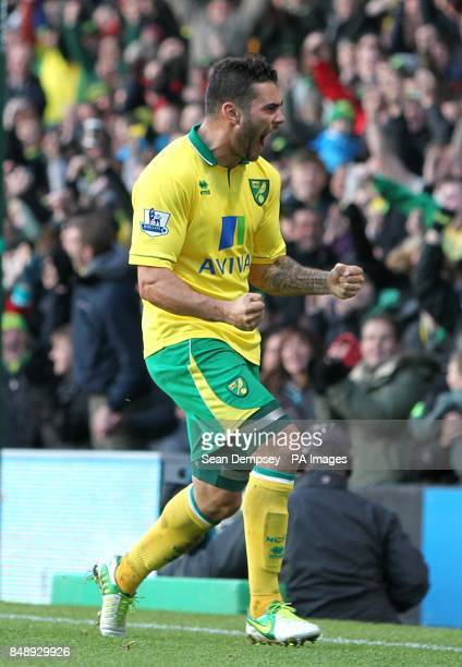 Norwich City's Bradley Johnson celebrates scoring their first goal of the game