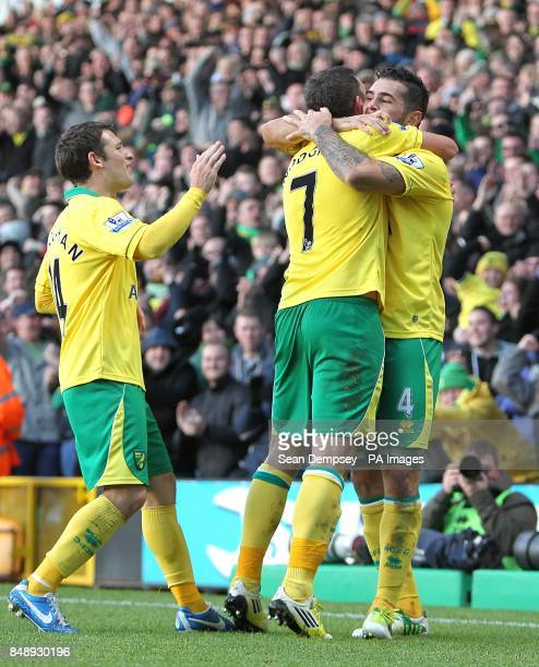 Norwich City's Bradley Johnson celebrates scoring their first goal of the game with teammate Robert Snodgrass