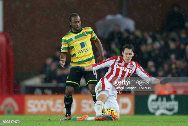 Norwich City's Cameron Jerome and Stoke City's Philipp Wollscheid battle for the ball