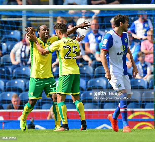 Norwich City's Cameron Jerome left celebrates scoring his sides third goal with teammate Ivo Pinto during the EFL Sky Bet Championship match between...