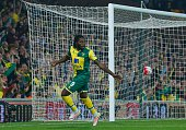 Norwich City's Congolese striker Dieumerci Mbokani celebrates after scoring their fourth goal during the English Premier League football match...