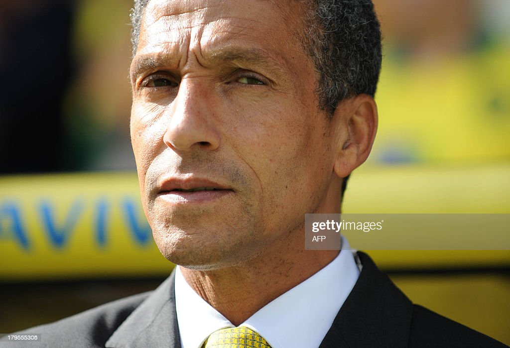 Norwich City's English manager Chris Hughton watches the action during the English Premier League football match between Norwich City and Southampton at Carrow Road in Norwich, eastern England on August 31, 2013. USE. No use with unauthorized audio, video, data, fixture lists, club/league logos or 'live' services. Online in-match use limited to 45 images, no video emulation. No use in betting, games or single club/league/player publications