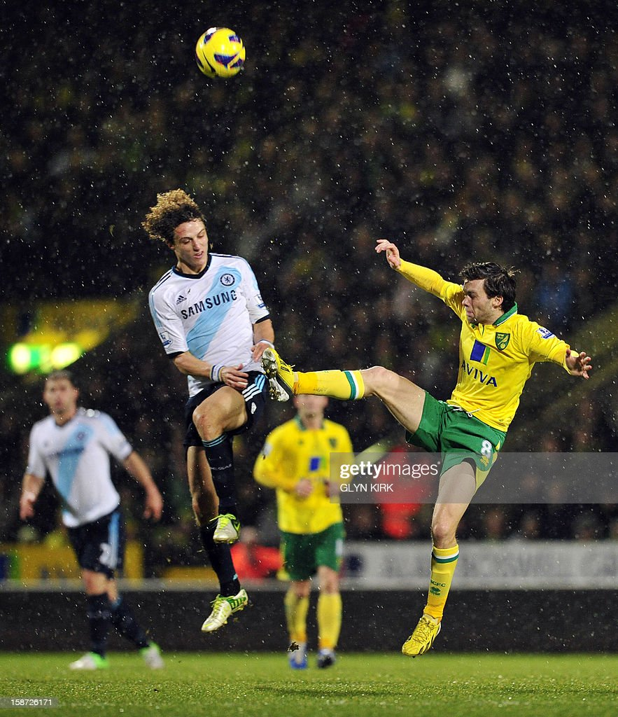 "Norwich City's English midfielder Jonny Howson (R) and Chelsea's Brazilian defender David Luiz (L) jump for the same ball during the English Premier League football match between Norwich City and Chelsea at Carrow Road stadium in Norwich, eastern England on December 26, 2012. USE. No use with unauthorized audio, video, data, fixture lists, club/league logos or ""live"" services. Online in-match use limited to 45 images, no video emulation. No use in betting, games or single club/league/player publications."