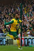 Norwich City's English midfielder Nathan Redmond celebrates scoring their first goal during the English Premier League football match between Norwich...