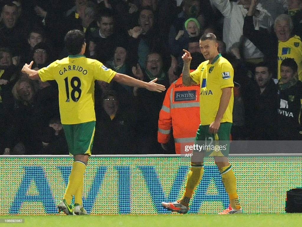 "Norwich City's English-Irish midfielder Anthony Pilkington (R) celebrates scoring his goal with Spanish midfielder Javier Garrido (L) during the English Premier League football match between Norwich City and Manchester United at Carrow Road stadium in Norwich, England on November 17, 2012. Norwich City won the game 1-0. USE. No use with unauthorized audio, video, data, fixture lists, club/league logos or ""live"" services. Online in-match use limited to 45 images, no video emulation. No use in betting, games or single club/league/player publications."