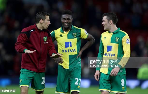 Norwich City's Gary O'Neil Norwich City's Alexander Tettey and Norwich City's Jonny Howson celebrate the win