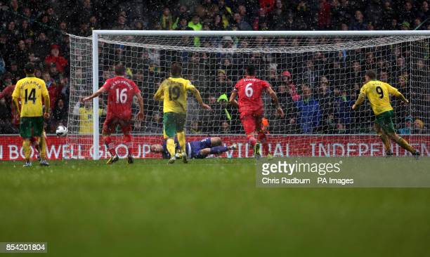 Norwich City's Grant Holt has his penalty saved by Southampton Goalkeeper Artur Boruc during the Barclays Premier League match at Carrow Road Norwich