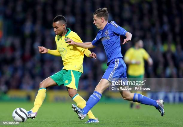 Norwich City's Jacob Murphy is challenged by Chelsea's Charlie Colkett during the FA Youth Cup Final First Leg at Carrow Road Norwich