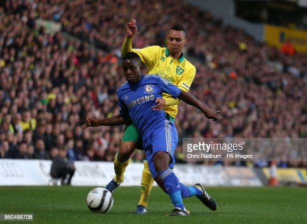 Norwich City's Jacob Murphy is challenged by Chelsea's Kevin Wright during the FA Youth Cup Final First Leg at Carrow Road Norwich
