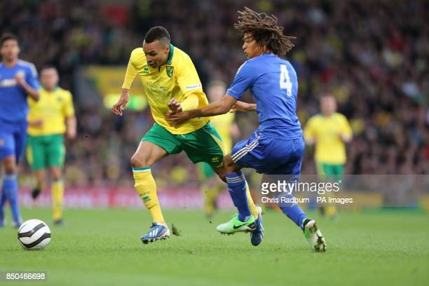 Norwich City's Jacob Murphy is challenged by Chelsea's Nathan Ake during the FA Youth Cup Final First Leg at Carrow Road Norwich