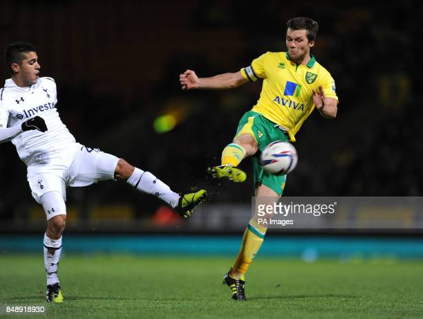 Norwich City's Jonny Howson has a shot on goal during the Capital One Cup Fourth Round match at Carrow Road Norwich