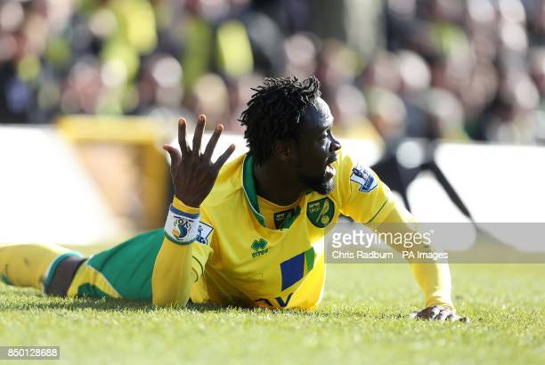 Norwich City's Kei Kamara reacts as he lies on the floor