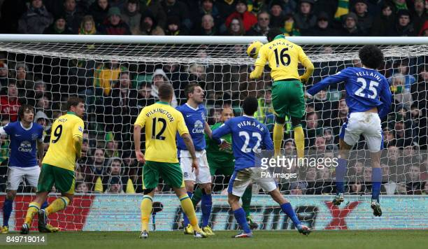 Norwich City's Kei Kamara scores the equalising goal during the Barclays Premier League match at Carrow Road Norwich