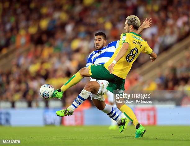 Norwich City's Mario Vrancic and Queens Park Rangers' Massimo Luongo battle for the ball during the Sky Bet Championship match at Carrow Road Norwich