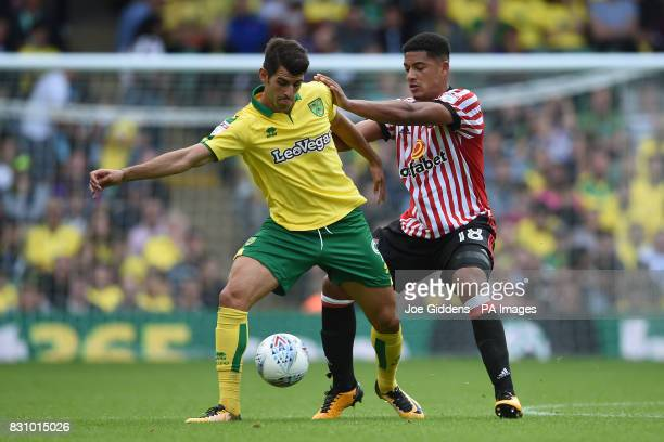 Norwich City's Nelson Oliveira and Sunderland's Tyias Browning during the Sky Bet Championship match at Carrow Road Norwich